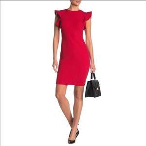 Calvin Klein Red Ruffle Flutter Sleeve Dress 12